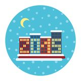 Vinterstadslandskap med byggnader, jul Arkivfoton