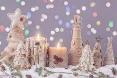 Vinterstearinljus Royaltyfria Bilder