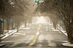 Vinterstormbortgång till och med york i stadens centrum South Carolina arkivbilder