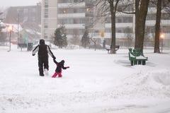 Vinterstormen slår Toronto royaltyfri fotografi