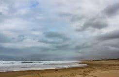 Vinterstrand med en storm som ut bryggar till havet - två personer gå i avstånd med en hund, och vågorna kraschar och skummar - r arkivbilder