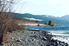 Vinterstrandsjö och vingårdar Arkivfoto