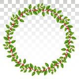 Vintertidsram eller feriekrans som göras av järnek med sidor vektor illustrationer
