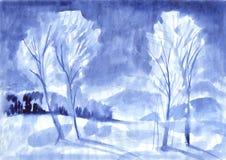 Vinterträd med kala filialer på vit, färgpulvermålning, vattenfärg eller färgpulverfläck i form av trädet, illustration stock illustrationer