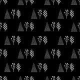Vinterträd på en svart bakgrund Arkivbild