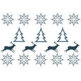Vintertröjadesign - hjort, snöflinga Arkivfoto