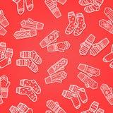 Vintertumvanten och sömlös modell för sockor Hand dragen stil Dekorativa beståndsdelar för jul Röda färger Royaltyfri Fotografi