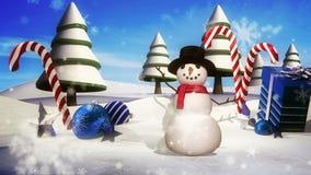 Vinterunderland med den vinkande snögubben