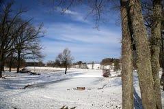 Vinterunderlandlandskap i Lettland Arkivbild