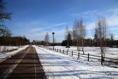 Vinterunderlandlandskap i Lettland Royaltyfria Bilder