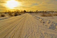 Vinterväg Arkivfoto