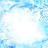 Vintervattenfärgbakgrund Hand målad fryst ram med vit copyspace frosttextur vektor illustrationer