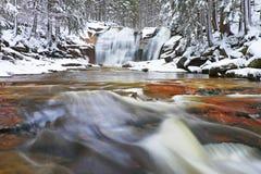 Vintervattenfall Det lilla dammet och snöig stenblock bölar kaskaden av vattenfallet Crystal frysningvatten av bergfloden och lju Royaltyfri Fotografi