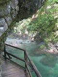 Vintgar canyon. Hiking un the Vintgar canyon Slovenia Royalty Free Stock Photos