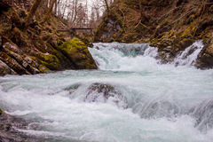 The Vintgar gorge Canyon with wooden pats Royalty Free Stock Image