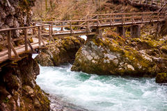 The Vintgar gorge Canyon with wooden pats Stock Images