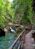 Vintgar gorge and wooden path at Bled Stock Photography