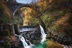 Vintgar vattenfall och kanjon, Slovenien arkivbild