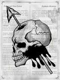 Vintge样式脏的头骨印刷品减速火箭的背景 向量例证