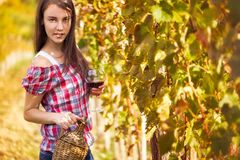 Vintner. In the vineyard with glass of wine Royalty Free Stock Photos