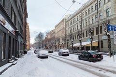 Vintrar i Riga, Lettland arkivfoto