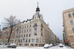 Vintrar i Riga, Lettland arkivbild