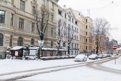 Vintrar i Riga, Lettland royaltyfria foton