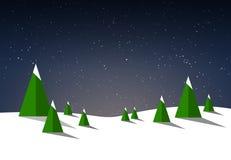 Vintrig och snöig illustrationbakgrund med granträd och natthimmel vektor illustrationer