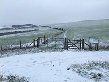 Vintrig snö täckte fält i Falmer, Brighton Royaltyfri Fotografi