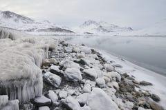 Vintrigt landskap, Mont Cenis sjö Arkivbilder