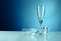 Vinyh two glasses on a blue background Stock Images