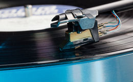 Vinyl analog record player cartridge and LP Stock Image