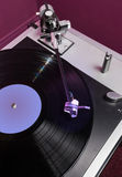 Vinyl analog record player cartridge and LP Royalty Free Stock Photos
