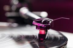 Vinyl analog record player cartridge and LP Royalty Free Stock Photo