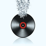 Vinyl Background with Music Notes Royalty Free Stock Images