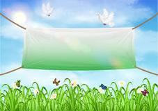 Vinyl banners backdrop with grass sky background. A vinyl banners backdrop with grass sky background Royalty Free Stock Photography