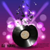 Vinyl breaks into pieces and notes,on a background of lights in a nightclub. Designed for flyers, invitations, advertising poster. Night club, or a DJ. Vector Royalty Free Stock Photo