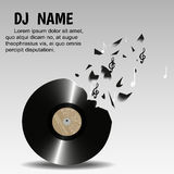 Vinyl breaks into pieces and notes,on a light background. Designed for flyers, invitations, advertising poster night club, or a DJ. Vector illustration Stock Photos