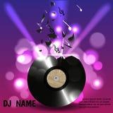 Vinyl bricht in Stücke und in Anmerkungen, über einen Hintergrund von Lichtern in einem Nachtklub Entworfen für Flieger, Einladun lizenzfreie abbildung