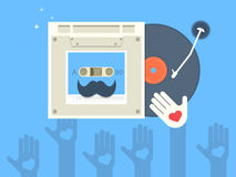 Vinyl and cassette record with mustache. This is vector illustration. Ai file attached Stock Photos