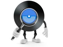 Vinyl character looking through magnifying glass vector illustration