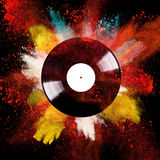 Vinyl disc with colored powder Royalty Free Stock Photos