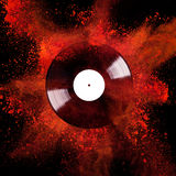 Vinyl disc with colored powder Royalty Free Stock Photography