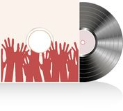 Vinyl disc cover in many human hands. Vector Stock Image