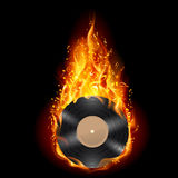 Vinyl disc in flames of fire. Burning vinyl record with fiery notes. Bright illustration on black background Royalty Free Stock Photography