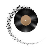 Vinyl disc with music notes. Royalty Free Stock Photos