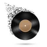 Vinyl disc with music notes. Stock Photos