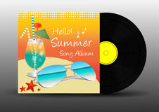 Vinyl disc record summer song album vector. Vinyl disc record hello summer song album vector stock illustration