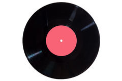 Vinyl disc with red label Royalty Free Stock Photography
