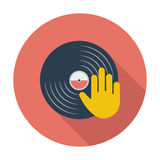 Vinyl disc whit hand. Royalty Free Stock Photography